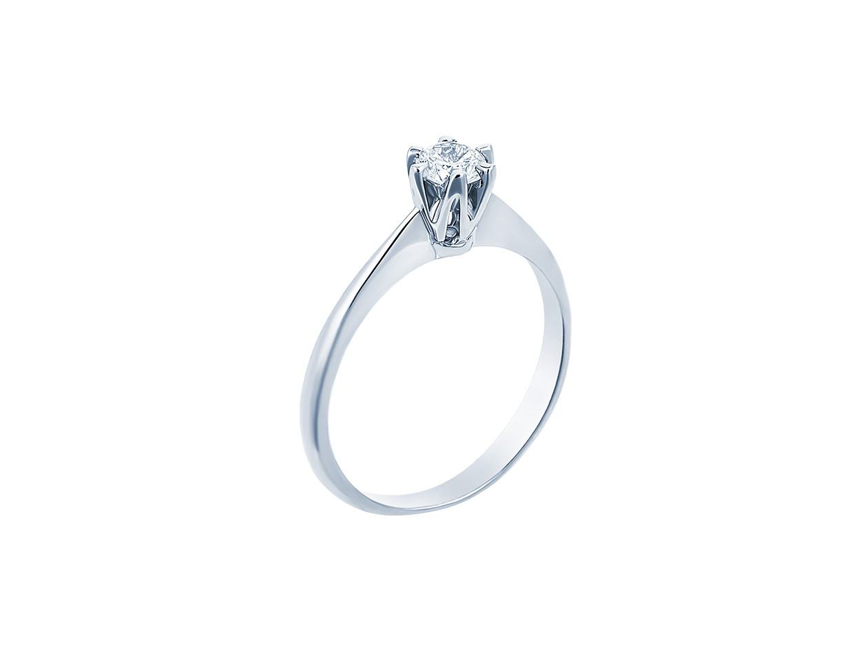 "Image of """"Eternity Premium 048"" white gold engagement ring K18 with VS1 diamond"""