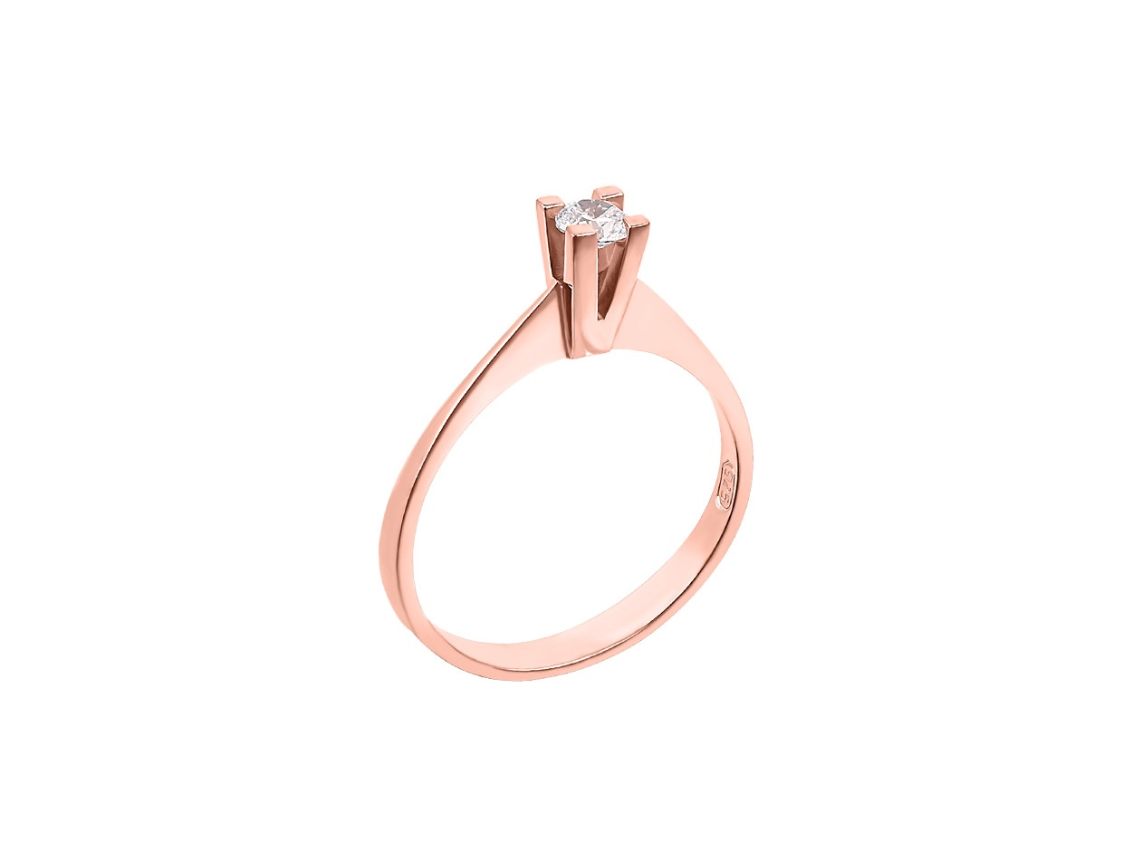 "Image of """"Eternity Premium 034"" rose gold engagement ring K18 with VS1 diamond"""