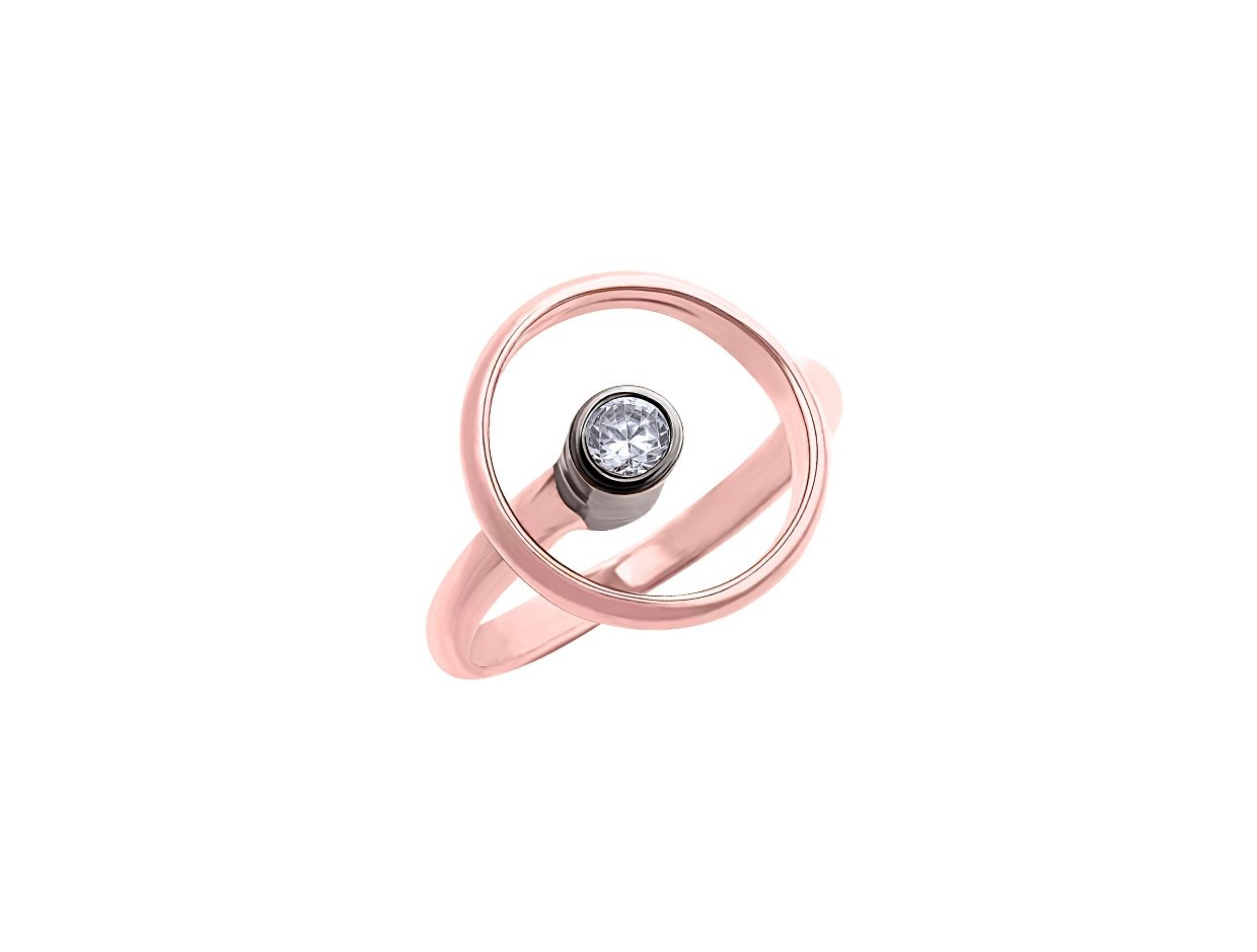 """Image of """"""""Transparent Circle"""" silver ring rose gold plated"""""""