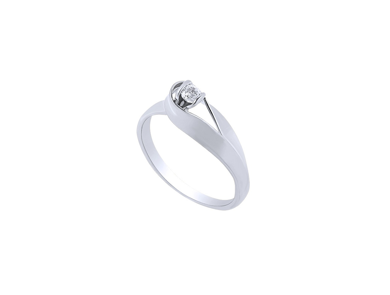 """Image of """"""""Lonely Star"""" white gold ring K9"""""""