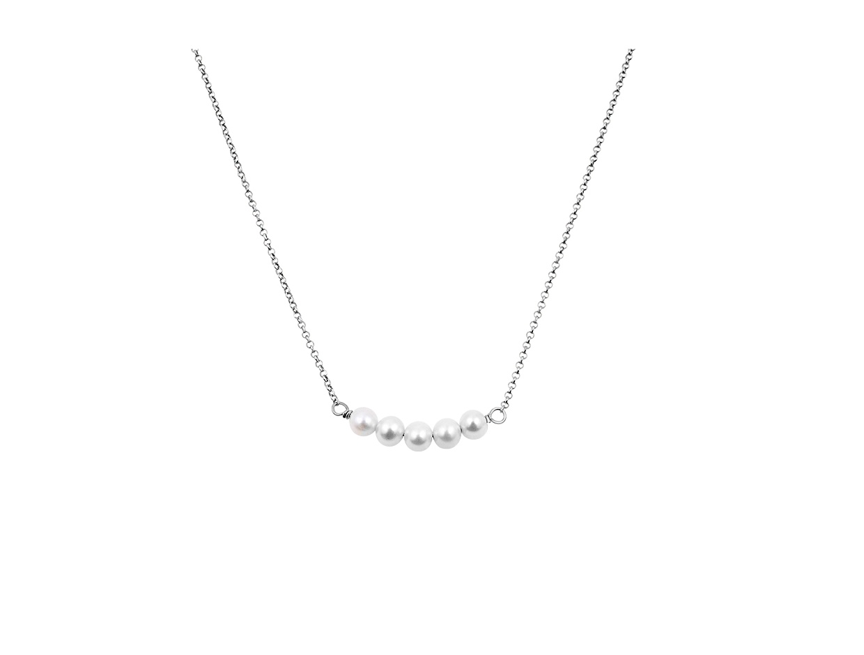 """Image of """"""""Queen of Pearls"""" silver necklace"""""""