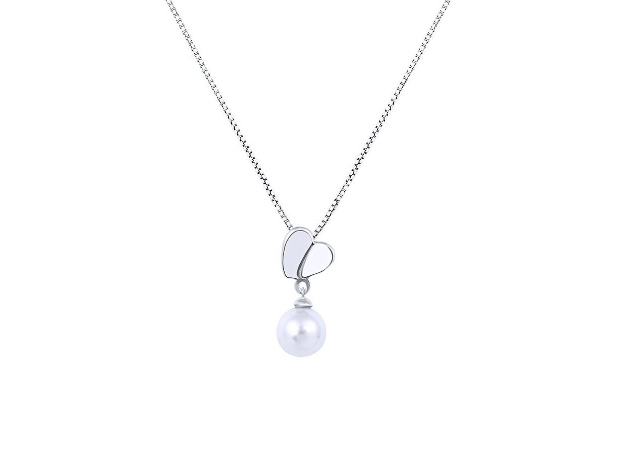 """Image of """"""""Pearl & Heart"""" silver necklace"""""""