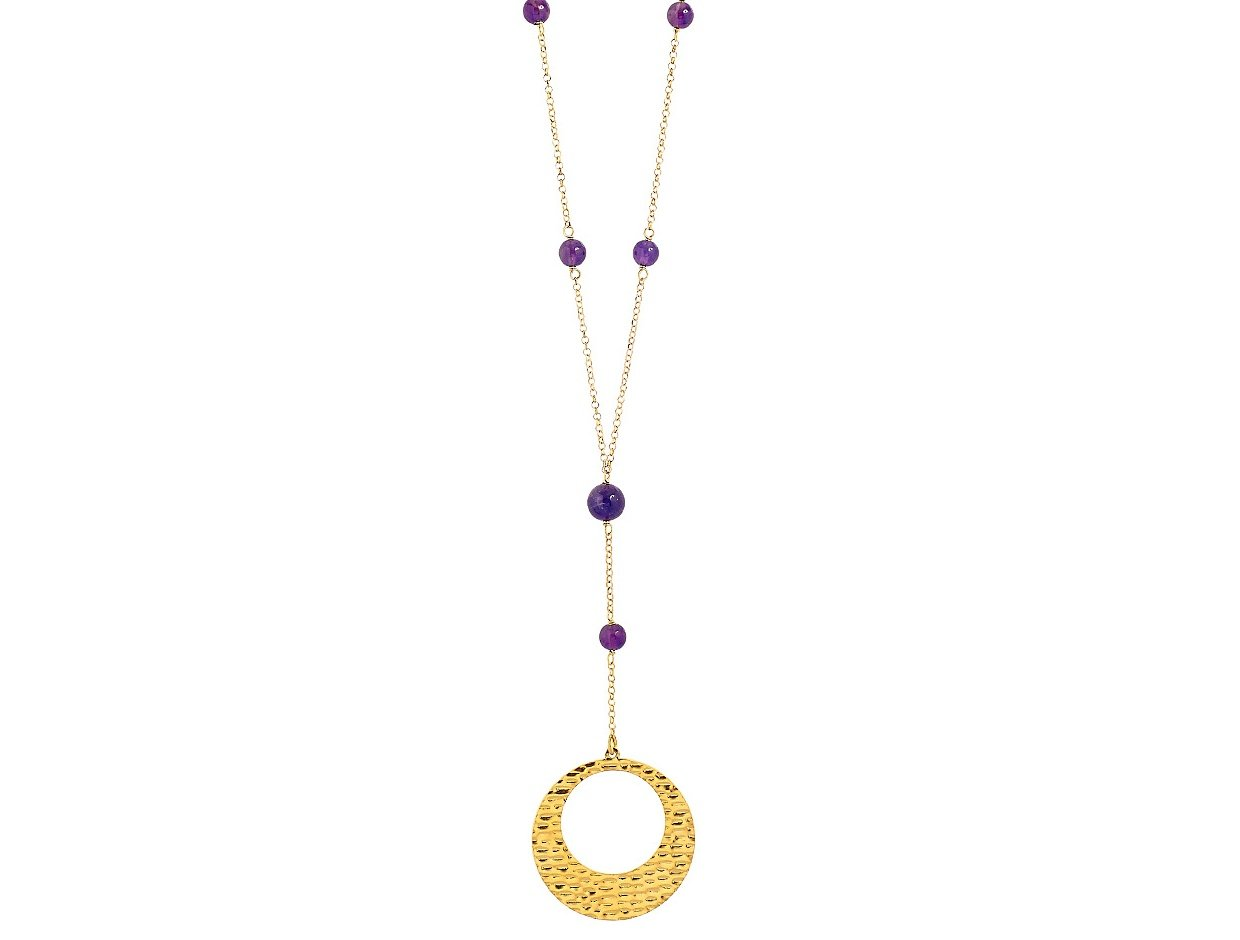 "Image of ""''Wave Circle & Amethyst'' silver necklace gold plated"""