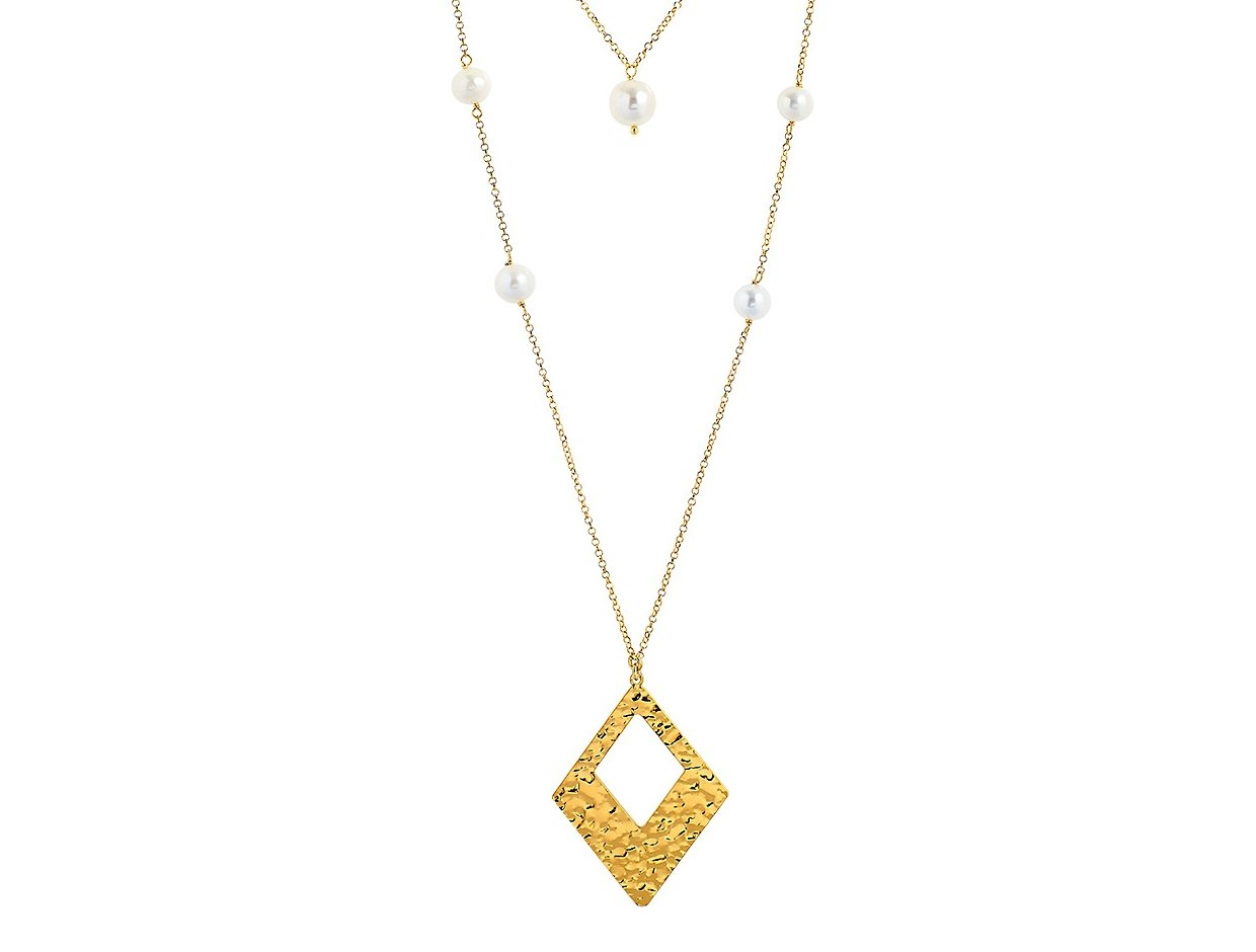 """Image of """"""""Rhombus & Pearls"""" silver necklace goldplated"""""""