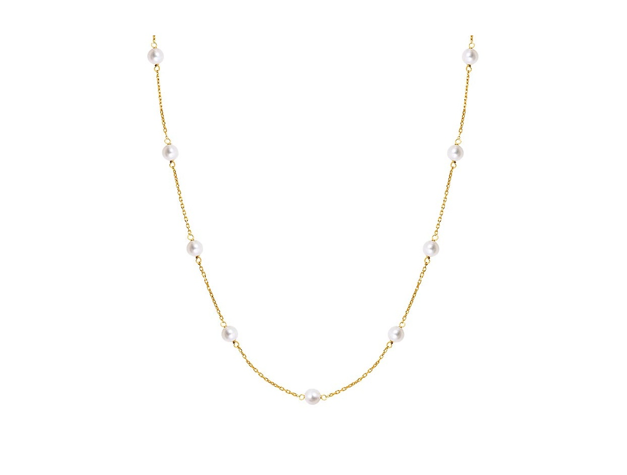 """Image of """"""""Pearly Light"""" silver necklace gold plated"""""""