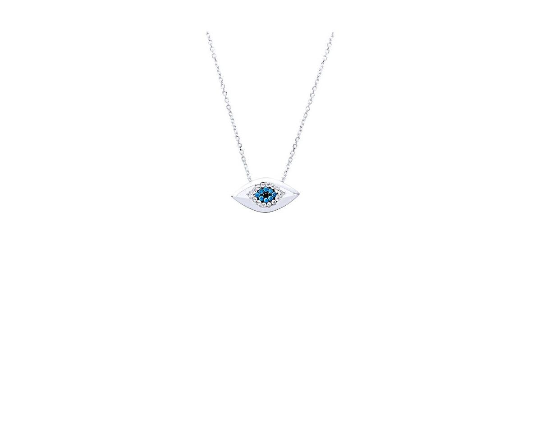 """Image of """"""""Shiny Eye"""" white gold necklace K14"""""""