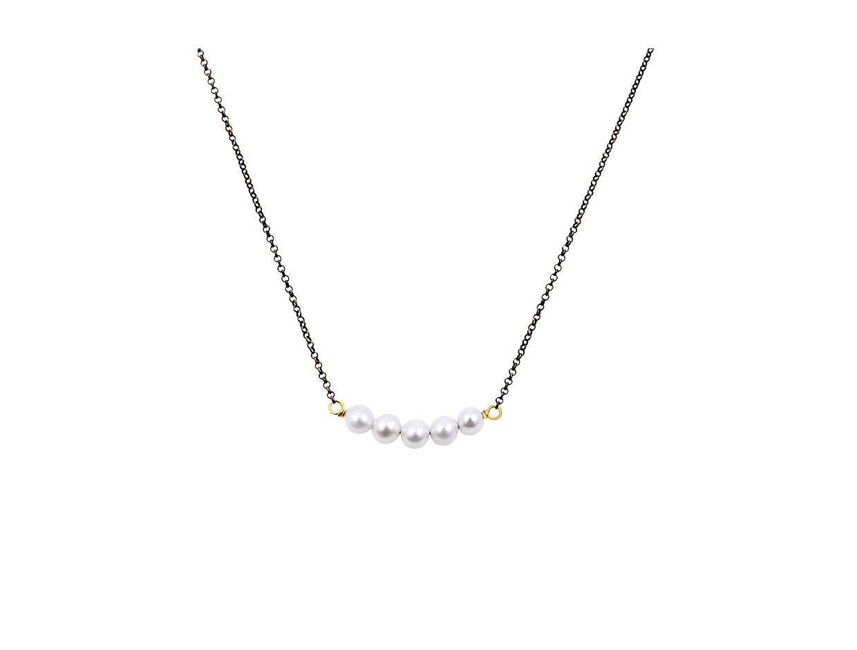 """Image of """"""""Queen of Pearls"""" #1 silver necklace black rhodium plated"""""""