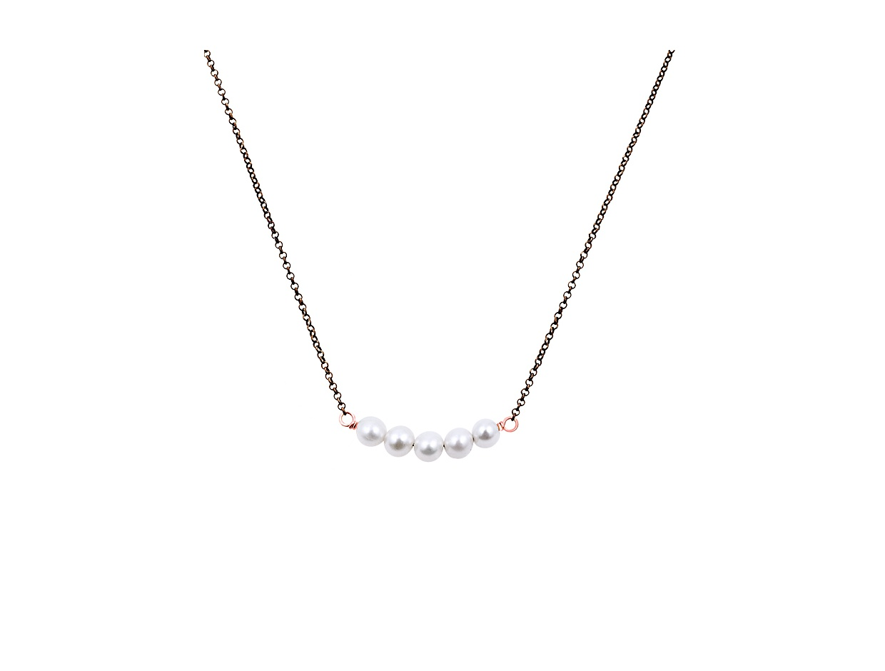 """Image of """"""""Queen of Pearls"""" #2 silver necklace black rhodium plated"""""""