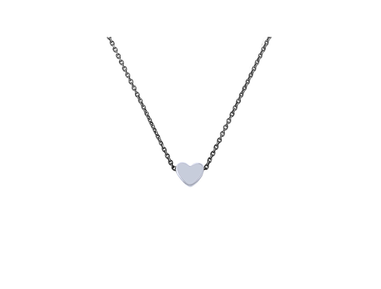 """Image of """"""""Festive Heart"""" #1 silver necklace black rhodium plated"""""""