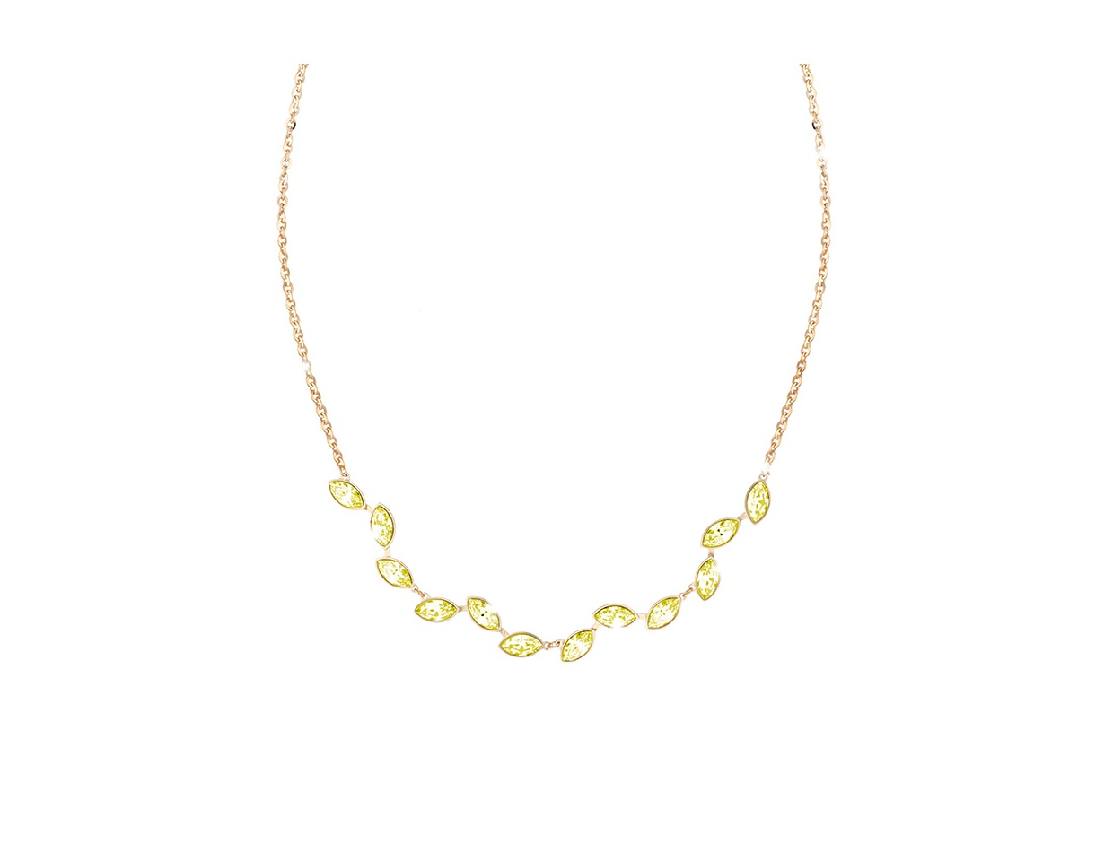 "Image of ""REBECCA Lumière necklace in gold stainless steel, BLMKOO06"""