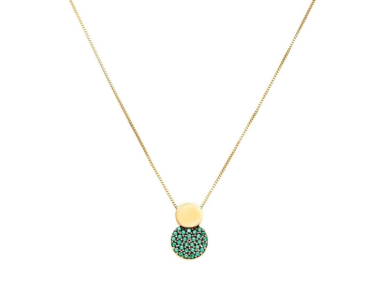 """Image of """"""""Green Planet"""" gold necklace K14"""""""