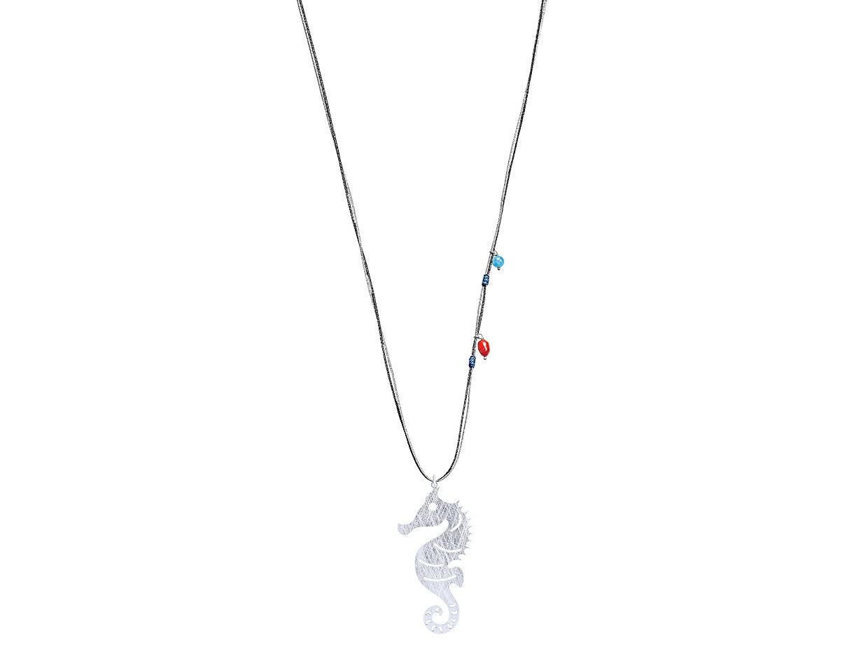"Image of """"Seahorse #2"" silver pendant"""
