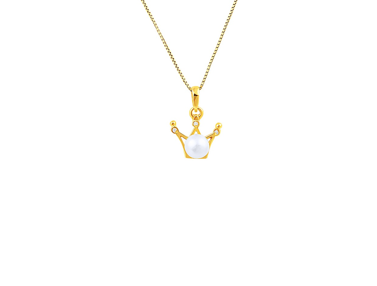 "Image of """"Pearly Crown"" silver necklace gold plated"""