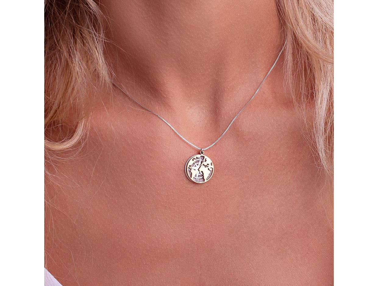 """Image of """"""""Moving globe"""" silver necklace rose gold plated"""""""