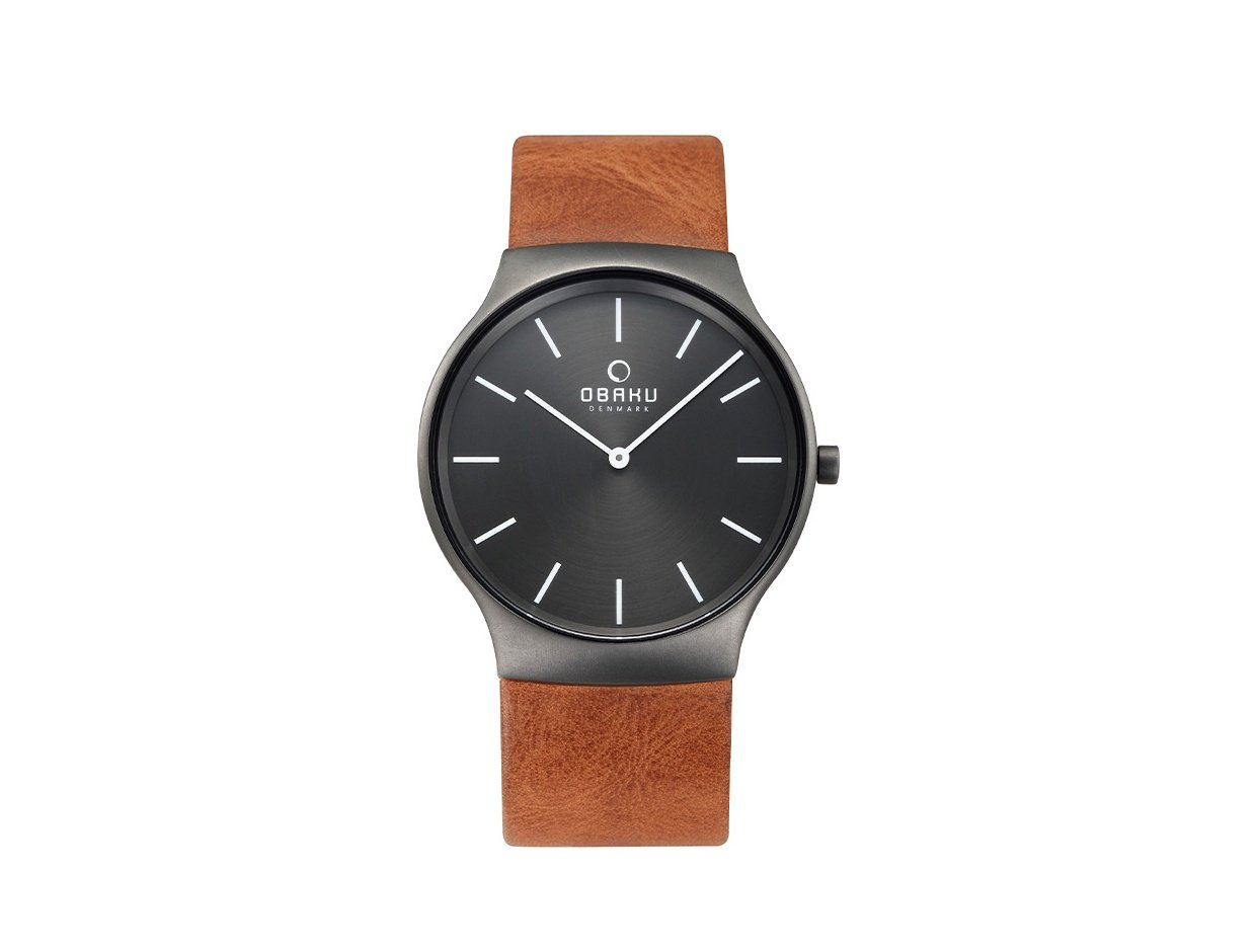 "Image of ""OBAKU Rolig V178GXUURZ Men's Watch with Brown Leather Strap"""