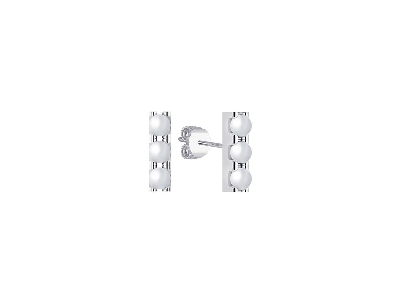 "Image of """"Trio Pearl Bar"" silver earrings"""