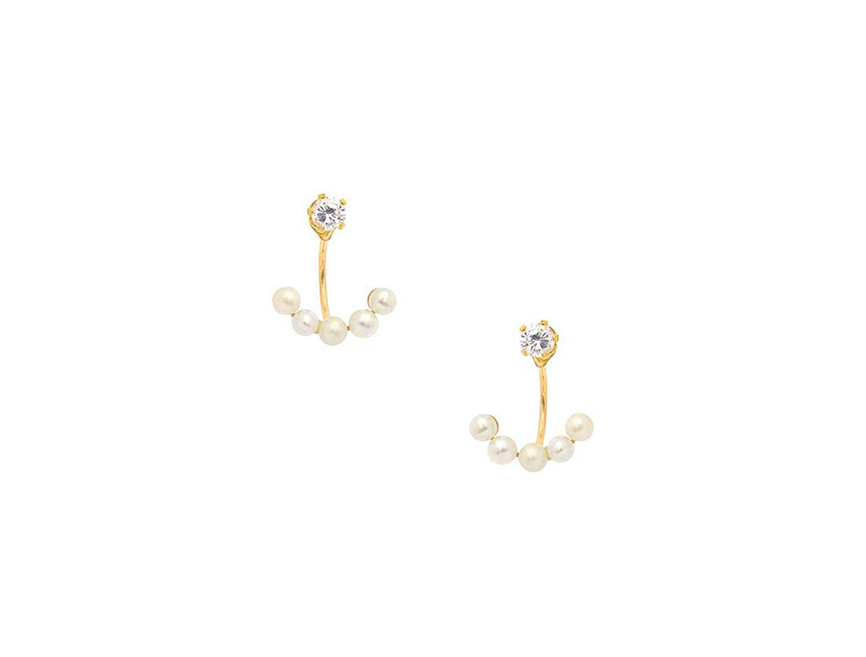 "Image of ""Silver earjacket earrings gold plated, 50449000"""