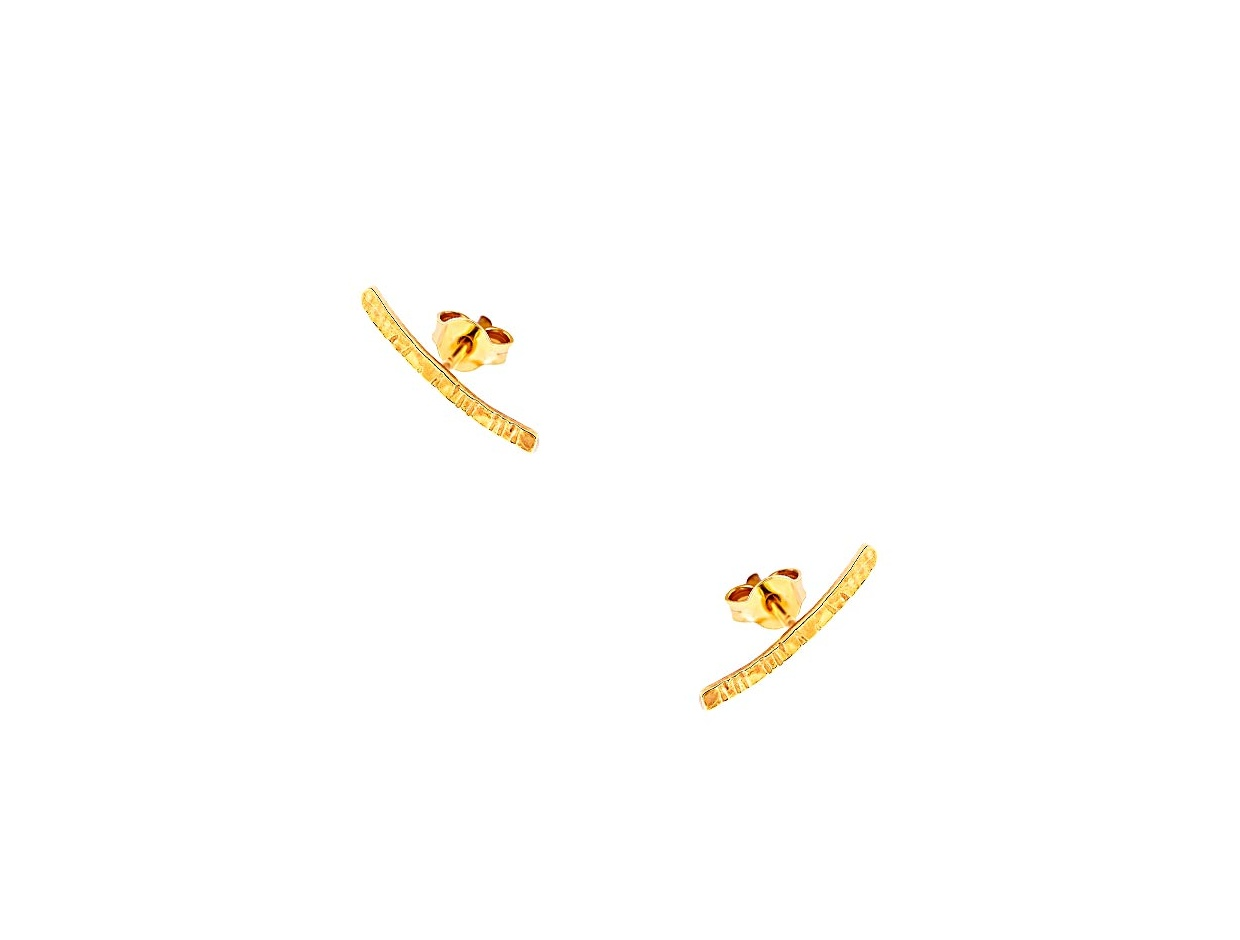 "Image of """"Crafted Line"" silver climber earrings gold plated"""