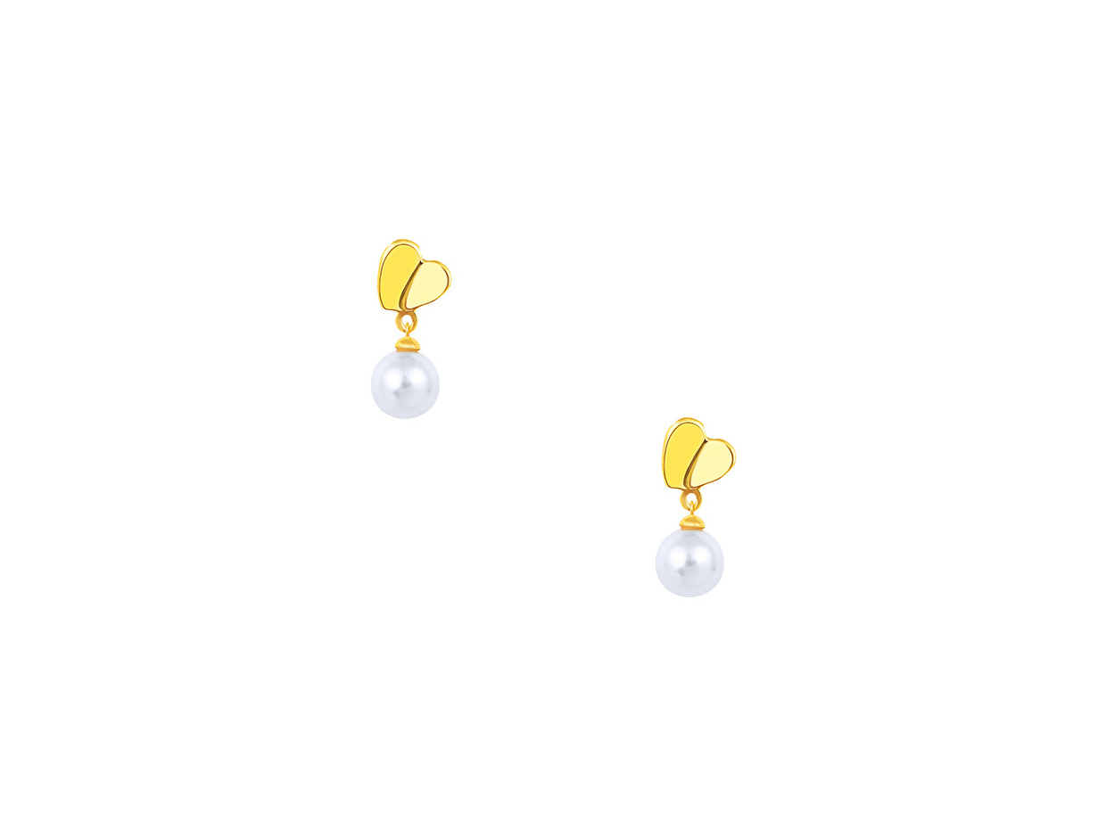 "Image of """"Pearl & Heart"" silver earrings gold plated"""
