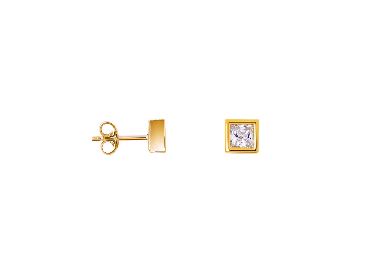 """Image of """"""""Perfect Crystal Cubes"""" silver earrings gold plated"""""""