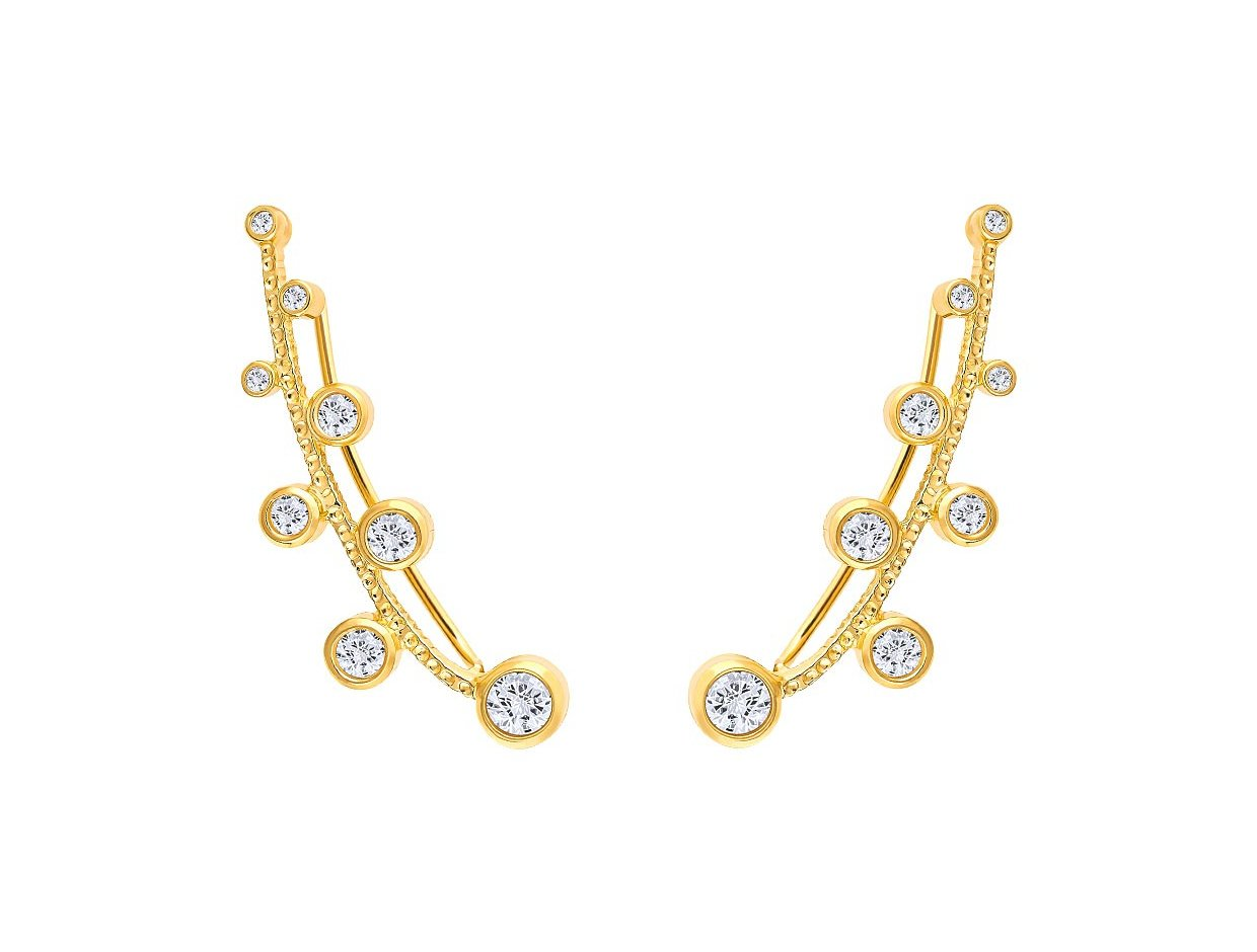 """Image of """"""""Jasmine"""" silver climbers earrings gold plated"""""""
