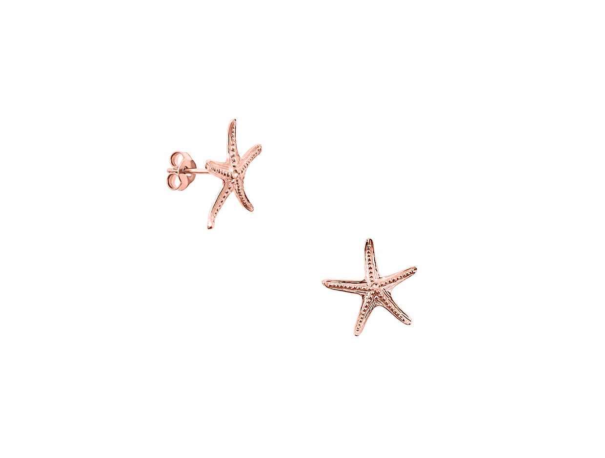 """Image of """"""""Starfish #2"""" silver earrings rose gold plated"""""""