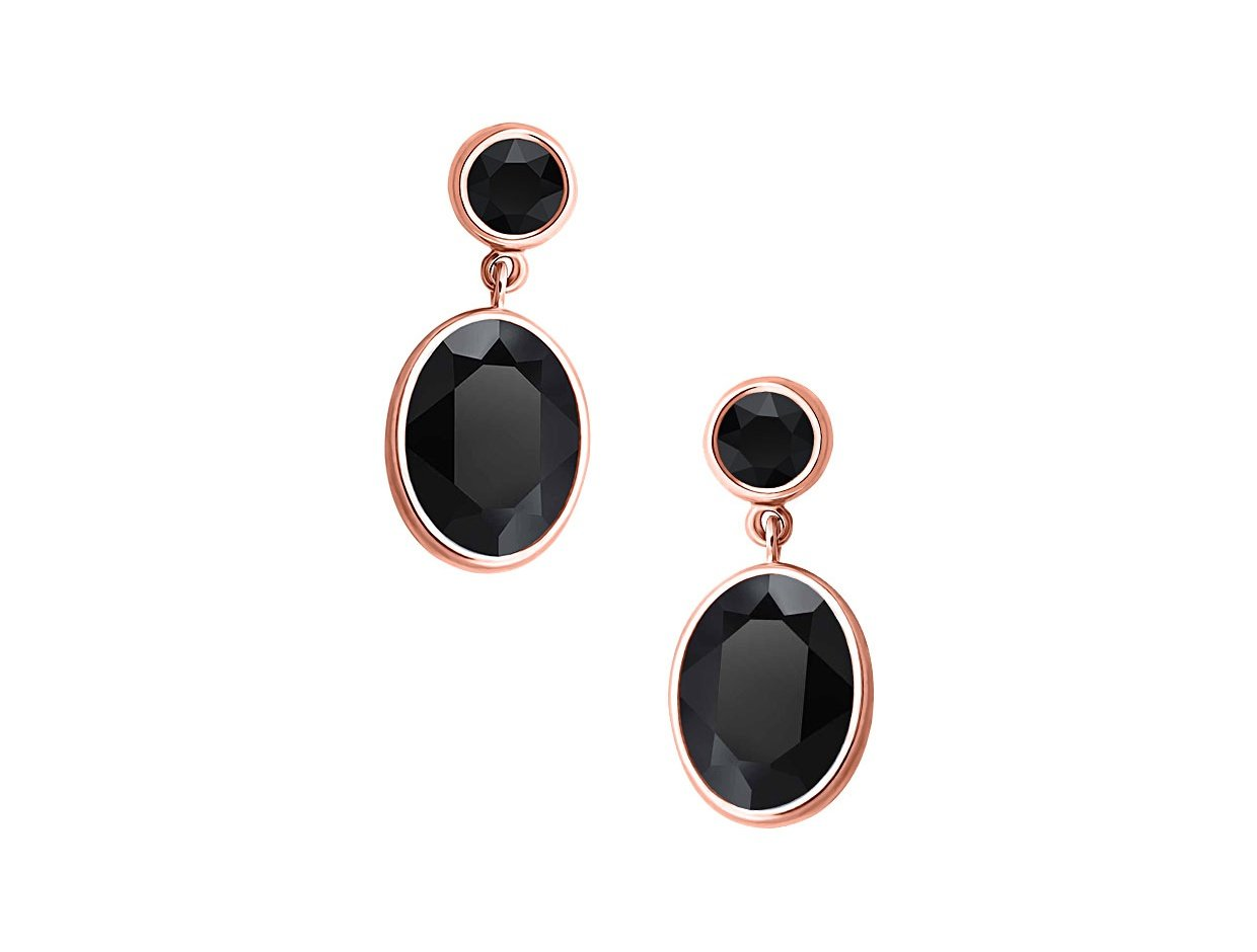 """Image of """"""""Black Temptation"""" silver earrings rose gold plated"""""""