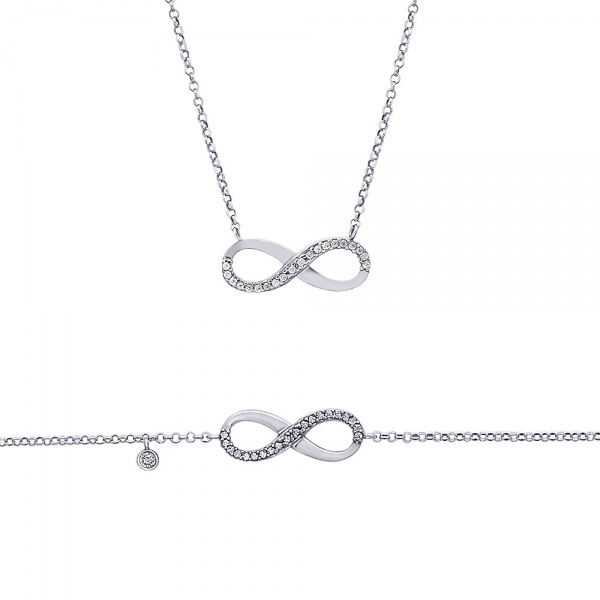 """Infinity"" silver set of bracelet and necklace"
