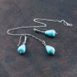 "Image of """"Raindrops"" silver earrings and necklace set"""