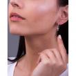 "Image of """"Dangle Cross"" silver hoop earrings"""