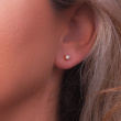 "Image of """"Single Pearl Bar"" silver earrings"""